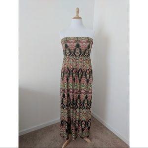 Mlle Gabrielle Tribal Print Strapless Maxi Dress